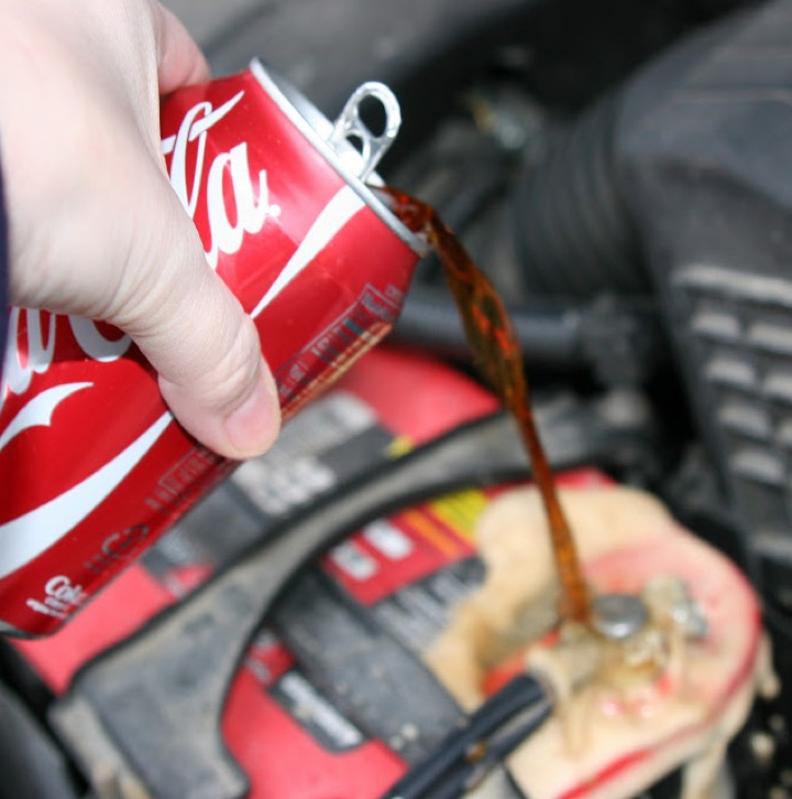 Pour Coke On Car Battery