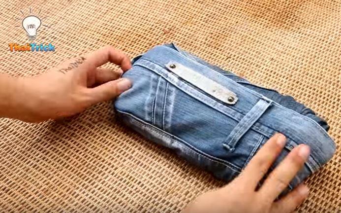 un astuce simple pour bien plier ses jeans et gagner de la place