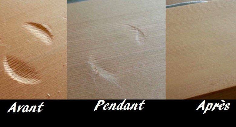 une astuce simple pour r parer un enfoncement sur le bois. Black Bedroom Furniture Sets. Home Design Ideas