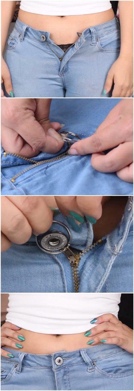 jeans pantalon curseur zip fermeture qui descend glisse