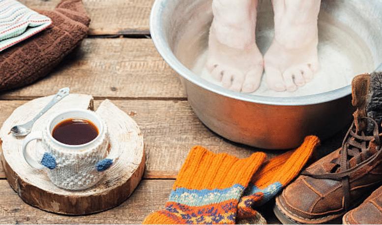 bain de pieds hiver froid aux pieds