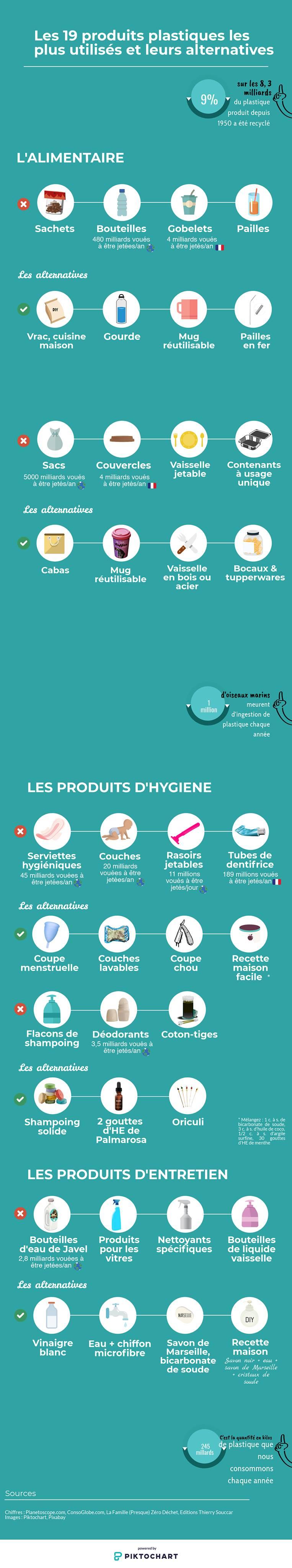 infographie sur la pollution plastique et les alternatives par Encelade Media Group