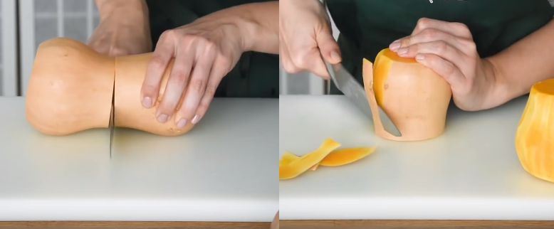deuxième technique pour peler un butternut