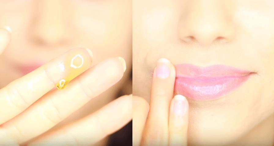 miel sur les lèvres gercées