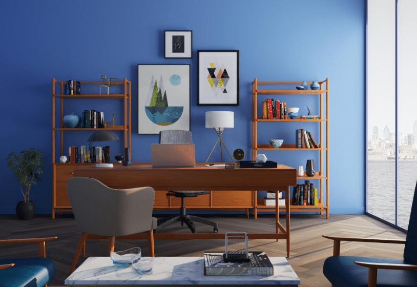 bureau mur bleu pour rafraîchir son intérieur décoration